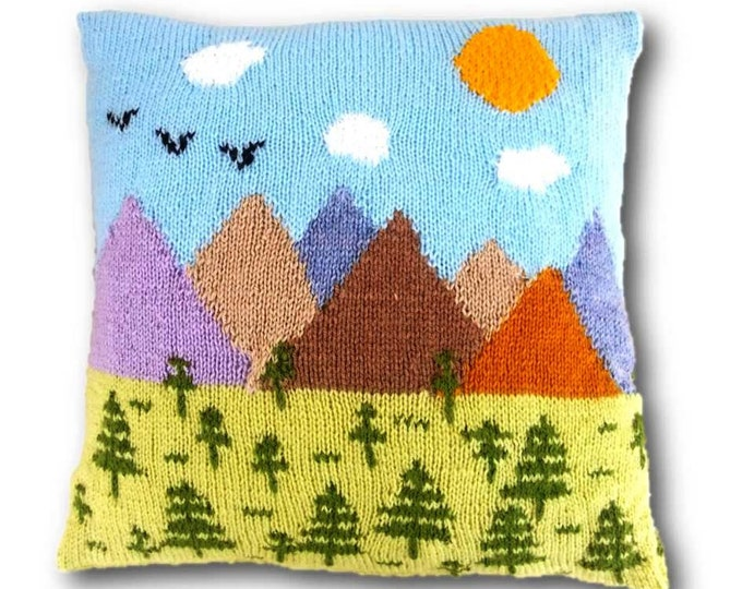 Trees and Mountains Cushion Knitting Pattern, Pillow Knitting Pattern with Trees and Mountains,  Knitting Pattern, pdf download cushion