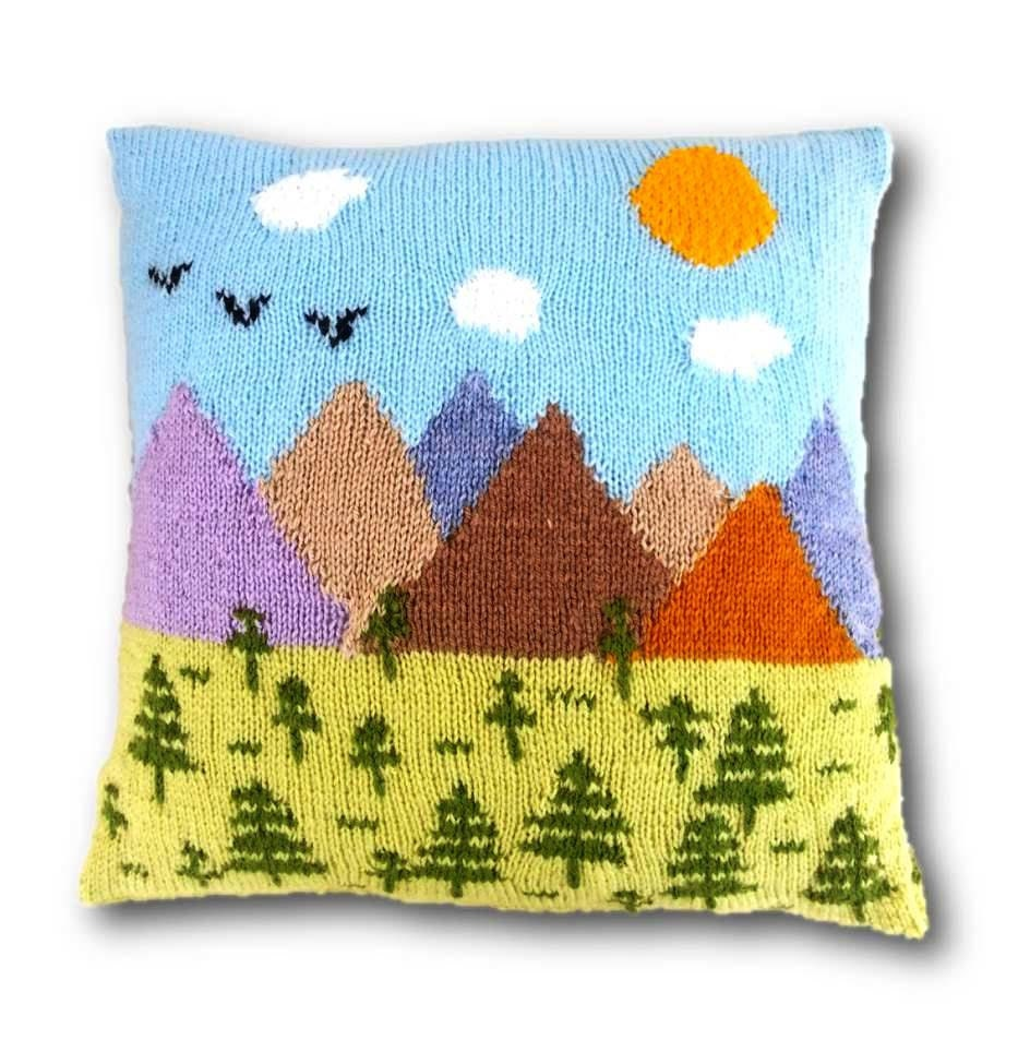 Trees and Mountains Cushion Knitting Pattern Pillow Knitting