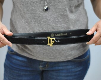 Vintage LOUIS FERAUD monogram leather belt ,....