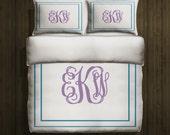 Personalized Bedding - Monogram Duvet Cover - =Toddler Bedding Twin Bedding Queen Duvet Cover King Bedding Dorm Room Design Your Own Bedding