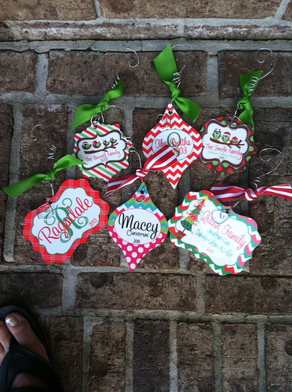 Personalized christmas tree ornament by cherrytreelanedesign for Custom christmas tree ornaments