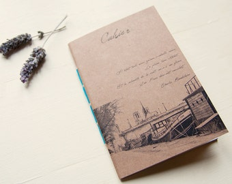 From Paris with love notebook, handmade journal, recycled paper eco friendly