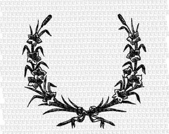 Laurel Wreath Lily Flowers Antique Vintage Clip Art Illustrations 300 dpi Digital Printable graphics 1936