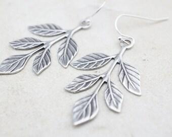 CLEARANCE 50% OFF Earrings, delicate silver branch dangle earrings No E403