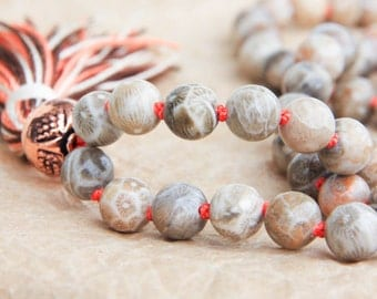Tibetan Mala Beads, Meditation Mala, Japa Beads, Fossil Coral For Mind Stimulation & Inner Peace, Buddhist Rosary