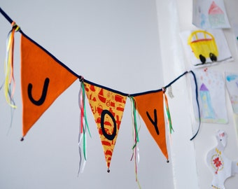 Bunting - Fabric Flags Banner -Blue and Yellow  Bunting - Girls Birthday, Nursery, Bedroom, Wedding, Baby Shower