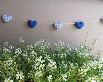 Mini heart garland - Wedding decor - Heart banner - Blue and white - Nursery decor - Birthday decor