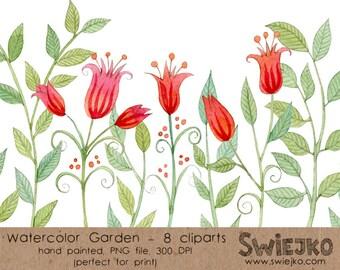 Digital Watercolor Clip Art, Flower set, Red Flower, Garden Clip Art, Watercolor Clip Art