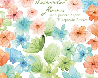 Watercolor Flowers, Digital ClipArt, Hand Painted, Wedding ClipArt, Wedding Flowers, Watercolor Clipart