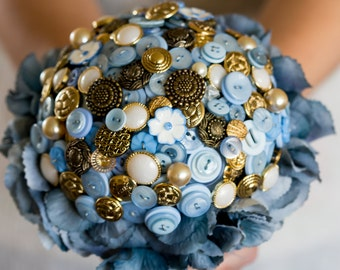 button bouquet blue and gold 'Phoebe'