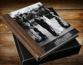 Wedding Album-Italian Genuine Leather Flush Mount Album with Metal Cover  11 X 14