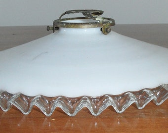 French Vintage milk glass white lampshade