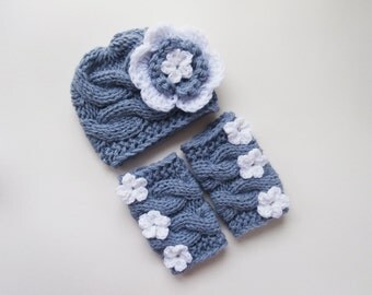 Knit Baby Hat and Leg Warmers Set -Newborn Baby-  Photography Photo Prop Set - Newborn Diaper Cover and Hat