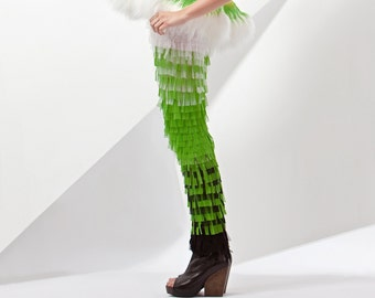 30% sale OMBRE tulle LEGGINGS handcrafted tulle fringes haute couture emerald grass green black white multicolor