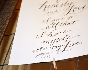 Upgrade Word Count: Handwritten Wedding Vows Art. Wedding Vow Keepsake. Unique Gift for Wife or Husband. Anniversary Gift.