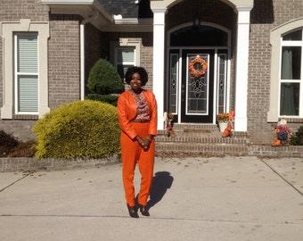Genuine Leather Orange Short Jacket