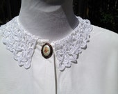White 90s victorian blouse with peterpan collar Medium Small  SALE $18.00 AT vintagedancer.com