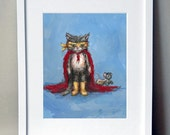 Super Hero Cat and Mouse Burglar: hand signed art print - JennyDaleDesigns