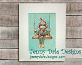 Sock Monkey Art, Nursery Art, Nursery Decor- Sock monkey on a swing: Art print - JennyDaleDesigns