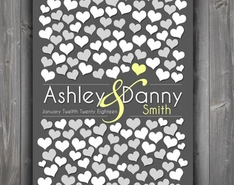 Wedding Guestbooks| Dark Gray Personalized Print | 151 Guest Sign In 20x30 | Wedding Dimensional Guestbook Poster | BRIDAL GIFT POSTER _01