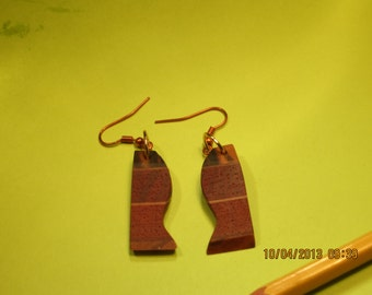 Laminated wood earrings
