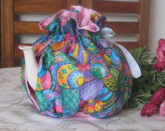Tea Cozy, Adjustable Easter Tea Cozy, Easter Decoration, Coffee Cozy, Easter Bunny, Easter Eggs, Decorated Easter Eggs