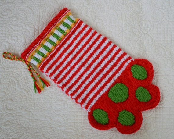 PDF Knitting Pattern Paw Stocking Dog or Cat Christmas