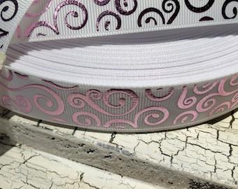 "3 yards 7/8"" Pink METALLIC SWIRL Loop on White grosgrain ribbon"