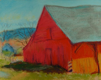 Original Pastel Painting,  Red Barn, Berkshire Landscape by Robert Lafond