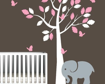 Nursery Tree Decal with Elephant and Colorful Butterflies