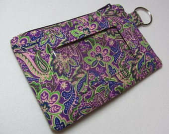 Purple Paisley Keychain ID Wallet w/ Split Ring, Student / Teacher / Work ID, Badge Holder, Vera Bradley - 2 Options for ID Pocket!