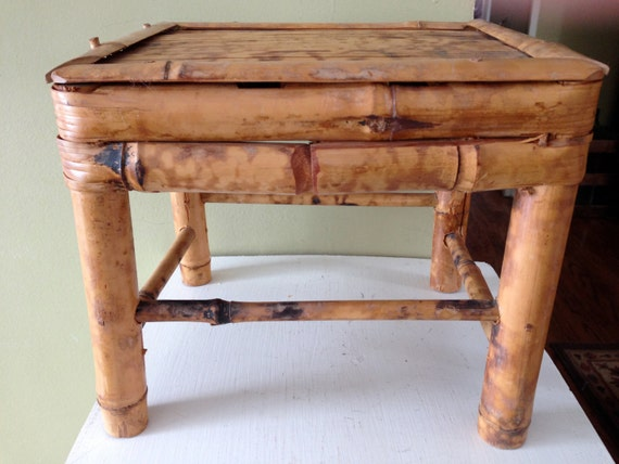 Vintage Bamboo Foot Stool Small Decorative Stool Foot Rest