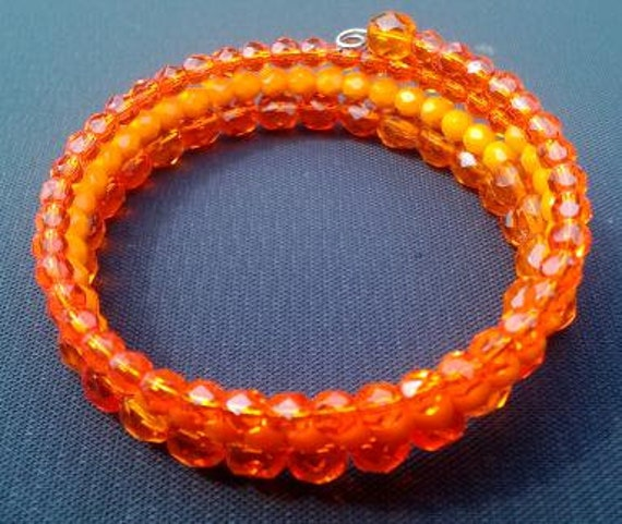 Orange Bracelet , Bright Orange Beaded Memory Wire Bracelet, Bright Bold Jewelry, Beaded Wrap Bracelet