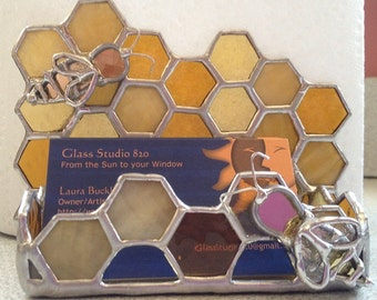 Stained Glass Honey Bee Business Card Holder