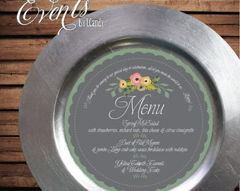 Printed Sample for 1 Dollar or Sets of 50 Custom Printed Scalloped Charger Plate Menu