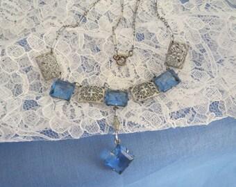 Feminine Art Deco Ice Blue Filigree Drop Necklace