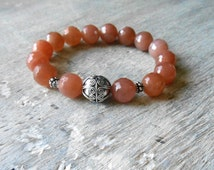 Sunstone Stretch Bracelet with  Sterling Silver Beads, Stacking Bracelet, Gemstone Bracelet