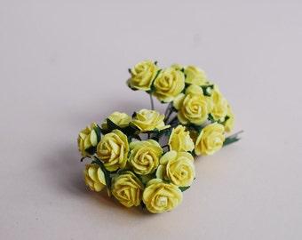 Paper Flower, 100 pieces mini rose, size1.5 cm., Yellow color.