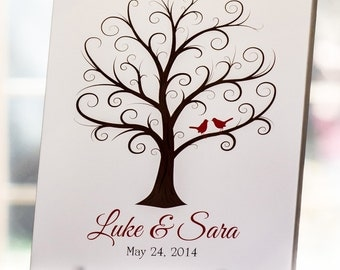 Wedding Fingerprint Tree  - Up to 100 Guests - 11x14 - Thumbprint Tree Guest Book - Guest Book, Wedding Trees, Wedding Guestbook