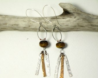 mixed metal earrings, hammered sterling silver and copper earrings, tiger eye earrings, long boho dangle earrings,