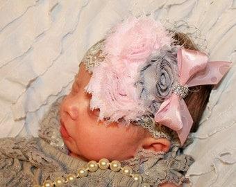 Silver Headband/Pink Headband/Shabby Chic Headband/Infant Headband/Baby Headband/Newborn Headband/Toddler Headband/Girls Headband