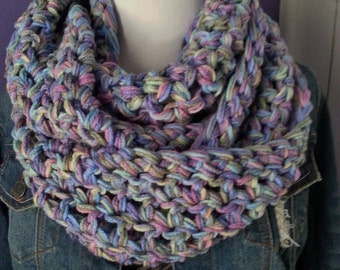 SUPER CHUNKY Crochet Infinity Scarf-Monet Ombre