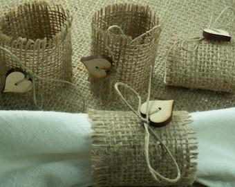 Rustic Style Rustic 110  Burlap Napkin Rings ,rustic napkin rings wedding napkin ring