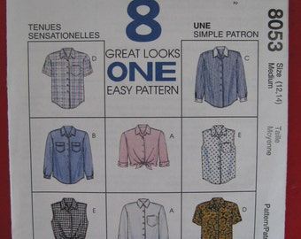 Mc Call's  Sewing Pattern 8053 Misses size 12 14 Blouse 8 Great Looks Easy Simple