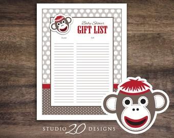 instant download sock monkey baby shower games sock monkey gift list printable gift tracking