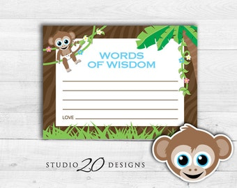 Instant Download Blue Monkey Advice Cards, Monkey Words of Wisdom Baby Shower Games, Printable Monkey Baby Shower for Boy Advice Cards 58A