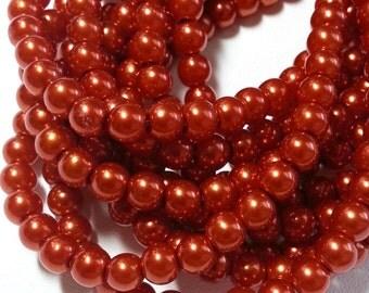 Burnt Orange round glass pearls - 6mm