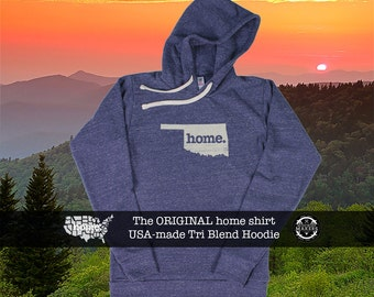 Tri Blend Pull Over Hoodie Oklahoma Home Sweatshirt