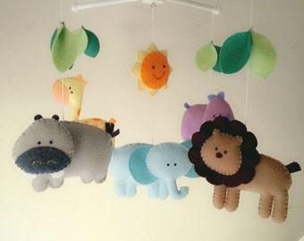 "Baby crib mobile, safari mobile, animal mobile, felt mobile ""Let's go to the Zoo 5"" - Elephant, Lion, Giraffe, Hippo, Rhino"