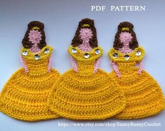 PRINCESS APPLIQUE, Crochet Applique Pattern,  Princess Belle Appliqué,  Disney Princess, Crochet Princess,Beauty, Beast, children, handmade